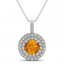 Citrine & Diamond Drop Double Halo Pendant  14k White Gold (1.85ct)