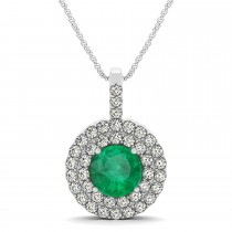 Emerald & Diamond Drop Double Halo Pendant  14k White Gold (2.01ct)