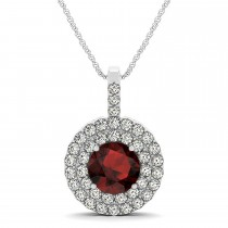 Garnet & Diamond Drop Double Halo Pendant  14k White Gold (2.15ct)