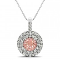 Morganite & Diamond Drop Double Halo Pendant  14k White Gold (1.85ct)