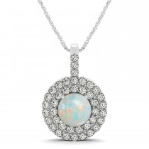 Opal & Diamond Drop Double Halo Pendant  14k White Gold (1.50ct)