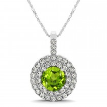 Peridot & Diamond Drop Double Halo Pendant  14k White Gold (1.86ct)