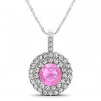 Pink Sapphire & Diamond Drop Double Halo Pendant  14k White Gold (2.16ct)