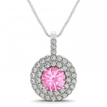 Pink Tourmaline & Diamond Drop Double Halo Pendant  14k White Gold (2.03ct)