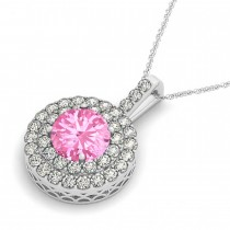Pink Tourmaline & Diamond Drop Double Halo Pendant  14k White Gold (2.03ct)|escape