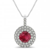 Ruby & Diamond Drop Double Halo Pendant  14k White Gold (2.16ct)
