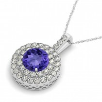 Tanzanite & Diamond Drop Double Halo Pendant  14k White Gold (1.85ct)