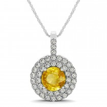 Yellow Sapphire & Diamond Drop Double Halo Pendant 14k White Gold (2.16ct)