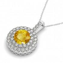 Yellow Sapphire & Diamond Drop Double Halo Pendant 14k White Gold (2.16ct)