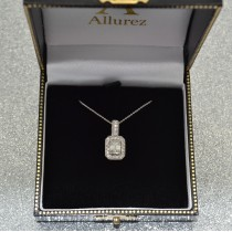 Emerald-Cut Diamond Drop Halo Pendant Necklace 14k White Gold (0.90ct)