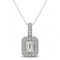Emerald-Cut Diamond Drop Halo Pendant Necklace 18k White Gold (0.90ct)