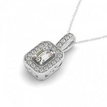 Emerald-Cut Diamond Drop Halo Pendant Necklace 18k White Gold (0.90ct)