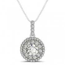 Round Cut Double Halo Diamond Pendant Necklace 14k White Gold (1.25ct)