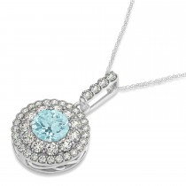 Round Double Halo Diamond & Aquamarine Pendant 14k White Gold 1.26ct