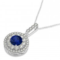 Round Double Halo Diamond & Blue Sapphire Pendant 14k White Gold 1.46ct