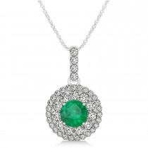 Round Double Halo Diamond & Emerald Pendant 14k White Gold 1.32ct