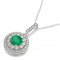 Round Double Halo Diamond & Emerald Pendant 14k White Gold 1.32ct