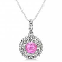 Round Double Halo Diamond & Pink Sapphire Pendant 14k White Gold 1.46ct