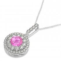Round Double Halo Diamond & Pink Sapphire Pendant 14k White Gold 1.46ct
