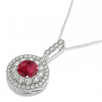 Round Double Halo Diamond & Ruby Pendant 14k White Gold 1.46ct
