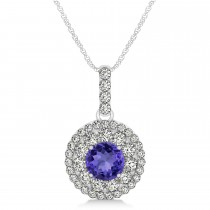 Round Double Halo Diamond & Tanzanite Pendant 14k White Gold 1.46ct