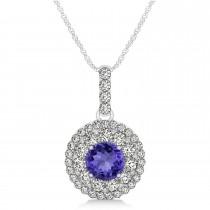 Round Double Halo Diamond & Tanzanite Pendant 14k White Gold 1.46ct