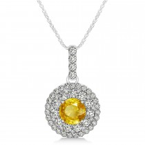 Round Double Halo Diamond & Yellow Sapphire Pendant 14k White Gold 1.46ct