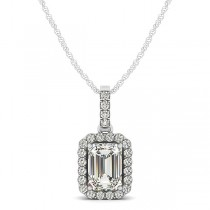 Emerald Cut Halo Pendant Necklace 14k White Gold (1.25ct)