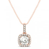 Diamond Halo Cushion Pendant Necklace 14k Rose Gold (0.62ct)