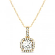 Diamond Halo Cushion Pendant Necklace 14k Yellow Gold (0.62ct)