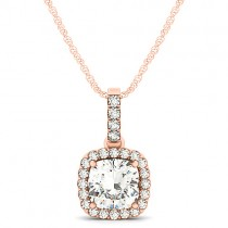 Diamond Halo Cushion Pendant Necklace 14k Rose Gold (1.49ct)