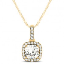 Diamond Halo Cushion Pendant Necklace 14k Yellow Gold (1.49ct)