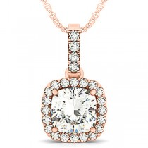 Diamond Halo Cushion Pendant Necklace 14k Rose Gold (3.00ct)