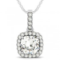 Diamond Halo Cushion Pendant Necklace 14k White Gold (3.00ct)