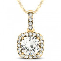 Diamond Halo Cushion Pendant Necklace 14k Yellow Gold (3.00ct)