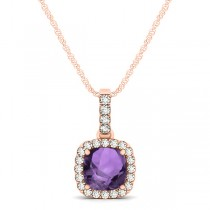 Amethyst & Diamond Halo Cushion Pendant Necklace 14k Rose Gold (0.66ct)