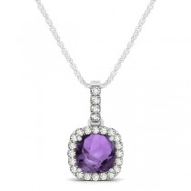 Amethyst & Diamond Halo Cushion Pendant Necklace 14k White Gold (0.66ct)