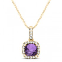 Amethyst & Diamond Halo Cushion Pendant Necklace 14k Yellow Gold (0.66ct)