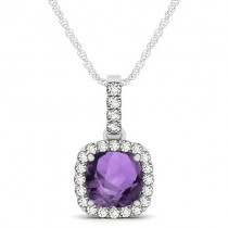 Amethyst & Diamond Halo Cushion Pendant Necklace 14k White Gold (1.66ct)