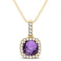 Amethyst & Diamond Halo Cushion Pendant Necklace 14k Yellow Gold (1.66ct)