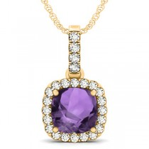 Amethyst & Diamond Halo Cushion Pendant Necklace 14k Yellow Gold (4.05ct)