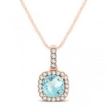 Aquamarine & Diamond Halo Cushion Pendant Necklace 14k Rose Gold (0.66ct)