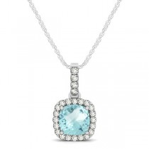 Aquamarine & Diamond Halo Cushion Pendant Necklace 14k White Gold (0.66ct)