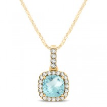 Aquamarine & Diamond Halo Cushion Pendant Necklace 14k Yellow Gold (0.66ct)