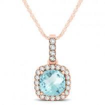 Aquamarine & Diamond Halo Cushion Pendant Necklace 14k Rose Gold (1.47ct)