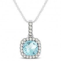 Aquamarine & Diamond Halo Cushion Pendant Necklace 14k White Gold (1.47ct)