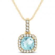 Aquamarine & Diamond Halo Cushion Pendant Necklace 14k Yellow Gold (1.47ct)