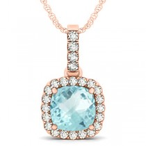 Aquamarine & Diamond Halo Cushion Pendant Necklace 14k Rose Gold (4.05ct)