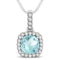 Aquamarine & Diamond Halo Cushion Pendant Necklace 14k White Gold (4.05ct)