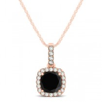 Black Diamond & Diamond Halo Cushion Pendant Necklace 14k Rose Gold (0.62ct)